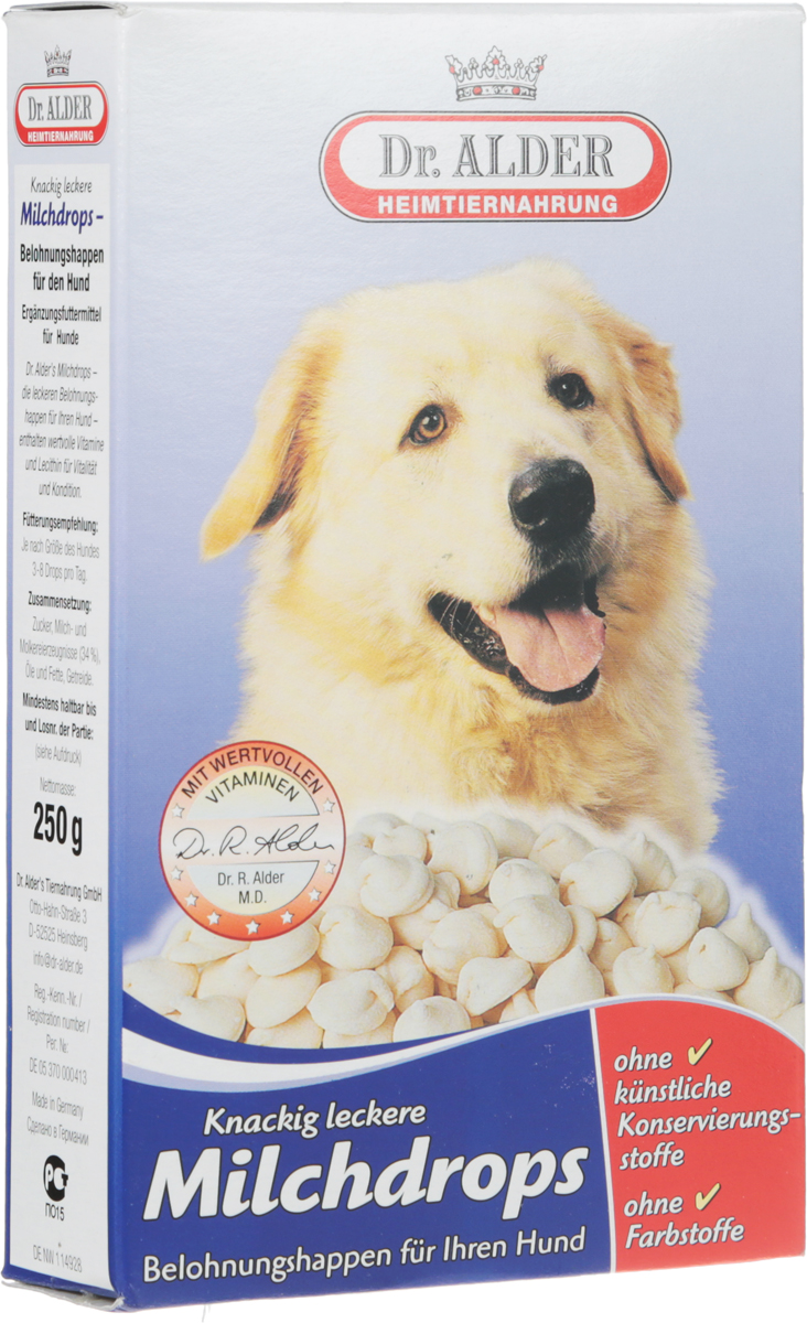 Лакомство для собак Dr. Alders Milchdrops, 250 г1966Dr. Alders Milchdrops - это изысканное молочное лакомство для собак. Вкусная награда для вашей собаки, содержащая полноценные витамины и лецитин для повышения жизненной активности и улучшения физического состояния питомца.Товар сертифицирован.