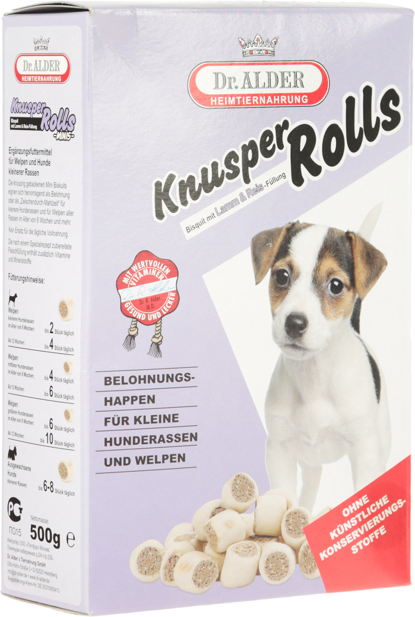 Лакомство для собак Dr. Alders Кнуспер Роллс мини, 500 г1963Аппетитные поджаристые мини-бисквитики Dr. Alders Кнуспер Роллс мини отлично подходят как поощрение или перекус для собак мелких пород и для щенков всех пород в возрасте от 8 недель. Приготовленная по специальному рецепту мясная начинка содержит дополнительные витамины и минеральные вещества.Не является заменой ежедневного полноценного питания.Товар сертифицирован.