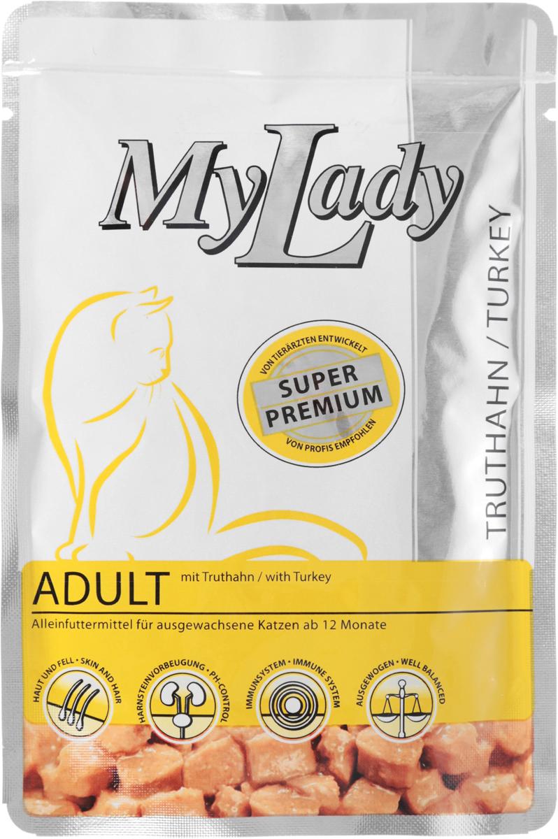 Корм консервированный Dr. Alders My Lady. Premium Adult для взрослых кошек, с индейкой, 85 г400776Полнорационный корм Dr. Alders My Lady. Premium Adult предназначен для взрослых кошек от 14 месяцев. Нежные кусочки мяса в аппетитном соусе содержат все питательные вещества и компоненты, которые ежедневно необходимы вашей кошке. Благодаря растительным маслам, которые служат природным источником жирных кислот омега 3+6, а также биотину, корм позаботится о блестящей шерстке и здоровой коже.Товар сертифицирован.
