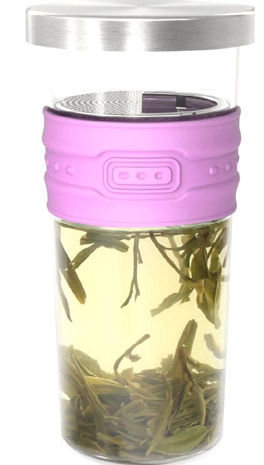 Стильный конусовидный стакан с резиновым рукавом и съемной крышкой. Крышку можно использовать как подставку. Внутри частое ситечко, которое вынимается для мытья.