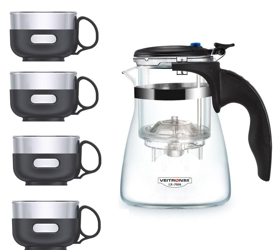Набор чайный Veitron, 5 предметов. LP-575ALP-575AНабор Veitron состоит из стеклянного чайника и 4 чашек по 150 мл. Чайник сделан из жаропрочного стекла класса Pyrex, произведенного в Японии. Внутренняя колба выполнена из нержавеющей стали. Просто засыпьте заварку в колбу и залейте кипятком, дайте настояться около 5 минут и разлейте чай по чашкам. Благодаря удобному набору вы можете провести настоящую китайскую чайную церемонию в кругу близких и родных. Подходит для чая, трав и сушеных ягод. Чайник выдерживает нагревание до 130 градусов. Не рекомендуется разогревать на плитах. Набор упакован в защитную пленку и подарочную коробку.