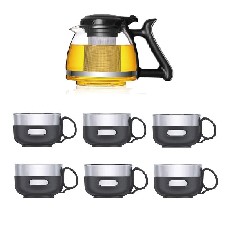 Набор чайный Veitron, 7 предметов. LP-SY1207LP-SY1207Набор из стеклянного чайника и 6 чашек по 150 мл. Чайник сделан из жаропрочного стекла класса Pyrex, произведенного в Японии. Внутренняя колба выполнена из нержавеющей стали. Просто засыпьте заварку в колбу и залейте кипятком, дайте настояться около 5 минут и и разлейте чай по чашкам. Благодаря удобному набору вы можете провести настоящую китайскую чайную церемонию в кругу близких и родных. Подходит для чая, трав и сушеных ягод. Чайник выдерживает нагревание до 130 градусов. Не рекомендуется разогревать на плитах. Набор упакован в защитную пленку и подарочную коробку.