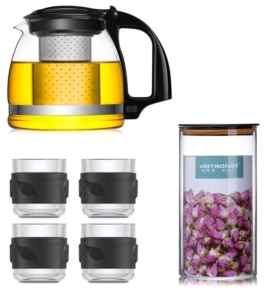 Набор чайный Veitron, 6 предметов. LP-ZJ906LP-ZJ906Набор из стеклянного чайник, 4 чашек по 150 мл и банки для хранения. Чайник сделан из жаропрочного стекла класса Pyrex, произведенного в Японии. Внутренняя колба выполнена из нержавеющей стали. Просто засыпьте заварку в колбу и залейте кипятком, дайте настояться около 5 минут и и разлейте чай по чашкам. Благодаря удобному набору вы можете провести настоящую китайскую чайную церемонию в кругу близких и родных. Чайник выдерживает нагревание до 130 градусов. Не рекомендуется разогревать на плитах. Набор упакован в защитную пленку и подарочную коробку.
