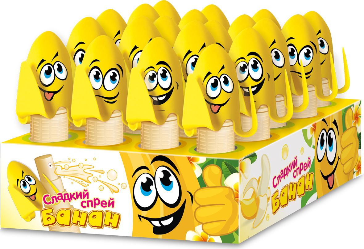 Конфитрейд Спрей-банан напиток безалкогольный негазированный, 20 шт по 16 млУТ21598Сладкий спрей в баночке в форме банана с крышкой с дозатором-распылителем, который плотно закрывается желтой крышкой.