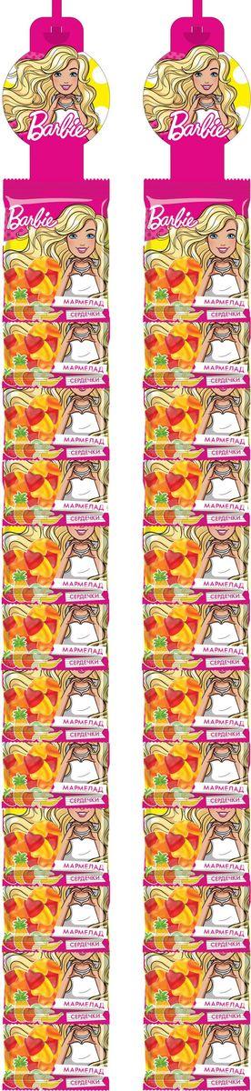 Конфитрейд Barbie мармелад жевательный, фруктовое ассорти, 24 шт по 25 гУТ22414Мармелад жевательный, сердечки с разными вкусами.