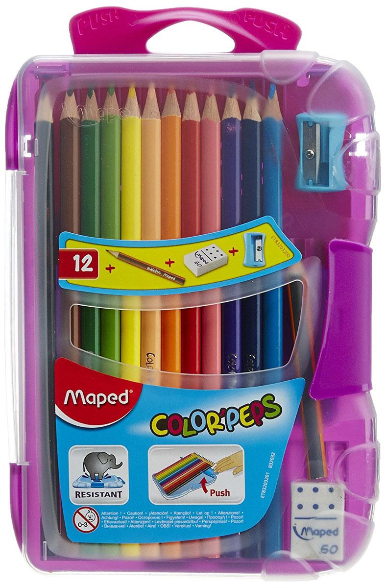 Maped Набор цветных карандашей Colorpeps 12 шт цвет пенала фиолетовый832032_фиолетовыйНабор цветных карандашей Maped Colorpeps поможет создать чудные картины вашему юному художнику.Мягкий грифель легко рисует на бумаге и не царапает ее, устойчив к механическим деформациям и легко затачивается. Трехгранный корпус изготовлен из натуральной древесины и покрыт лаком на водной основе.В набор входят 12 цветных карандашей, ластик, точилка и чернографитный карандаш.С таким набором будет интересно рисовать не только вашему малышу, но и вам.