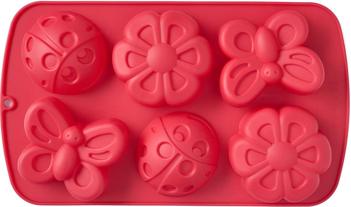 Форма для выпечки Walmer Garden, 6 ячеек, цвет: красныйW27291730