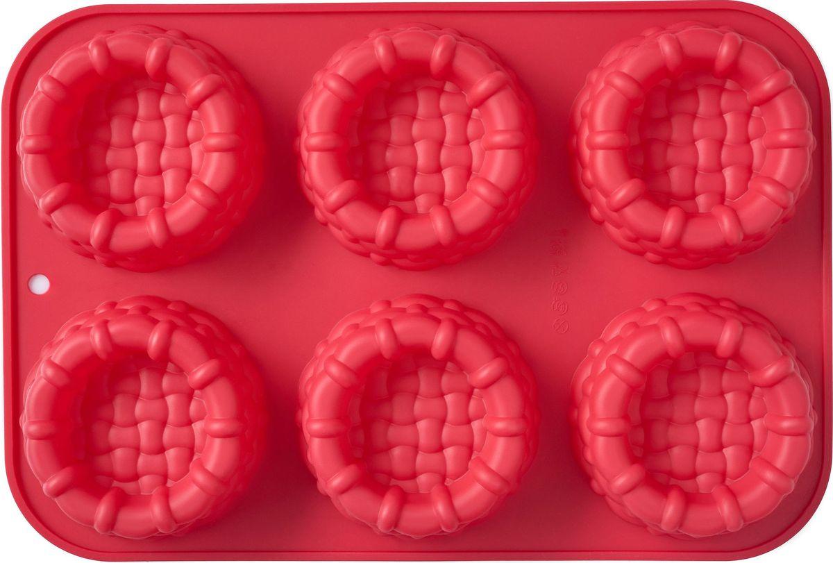 Форма для выпечки Walmer Basket, 6 ячеек, цвет: красныйW27312135Форма Walmer Basket выполнена из силикона, благодаря этому выпечку вынимать легко и просто. Материал устойчив к фруктовым кислотам, может быть использован в духовках и микроволновых печах.