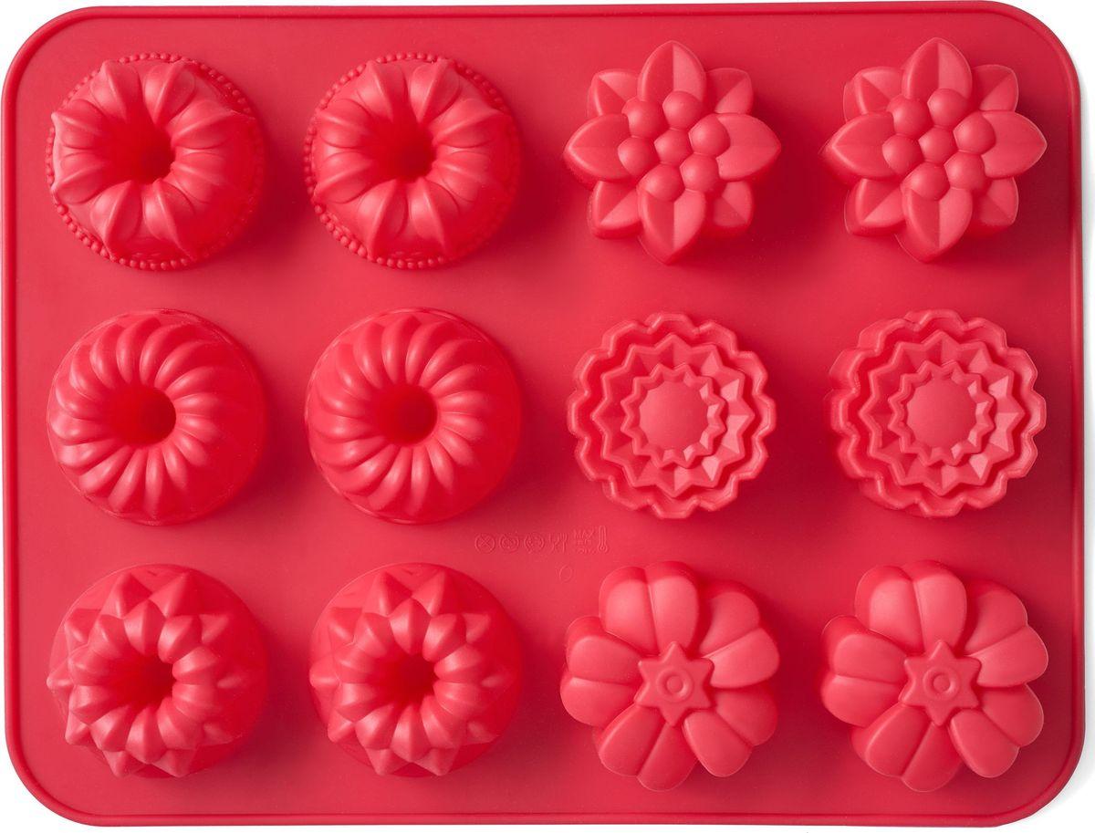 Форма для выпечки Walmer Cupcakes, цвет: красный, 12 ячеекW27312430Форма для выпечки Walmer Cupcakes изготовлена из высококачественногопищевого силикона. Стенки формы легко гнутся, что позволяет легко достатьготовую выпечку и сохранить аккуратный внешний вид блюда. Форма содержит 12ячеек различной формы.Изделия из силикона очень удобны в использовании: пища в них не пригорает и неприлипает к стенкам, форма легко моется. Изделие обладает эластичнымисвойствами: складывается без изломов, восстанавливает свою первоначальнуюформу.Порадуйте своих родных и близких любимой выпечкой в необычном исполнении. Подходит для приготовления в микроволновой печи и духовом шкафу, а также длязаморозки.