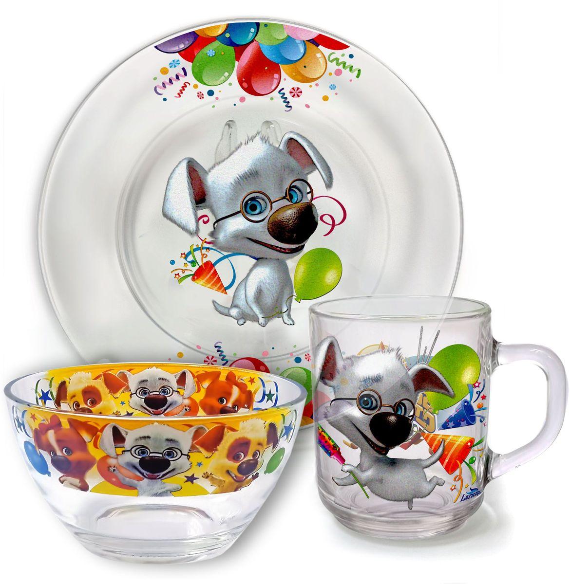 Набор посуды Белка и Стрелка Всезнайка Рекс, 3 предмета628-053От качества посуды зависит не только вкус еды, но и здоровье человека. Набор посуды Белка иСтрелка Всезнайка Рекс выполнен из высококачественного стекла и состоит из тарелки, кружкии салатника. Любой хозяйке будет приятно держать его в руках.Состав набора: тарелка 19 см, кружка 210 мл, салатник 13 см, 250 мл.