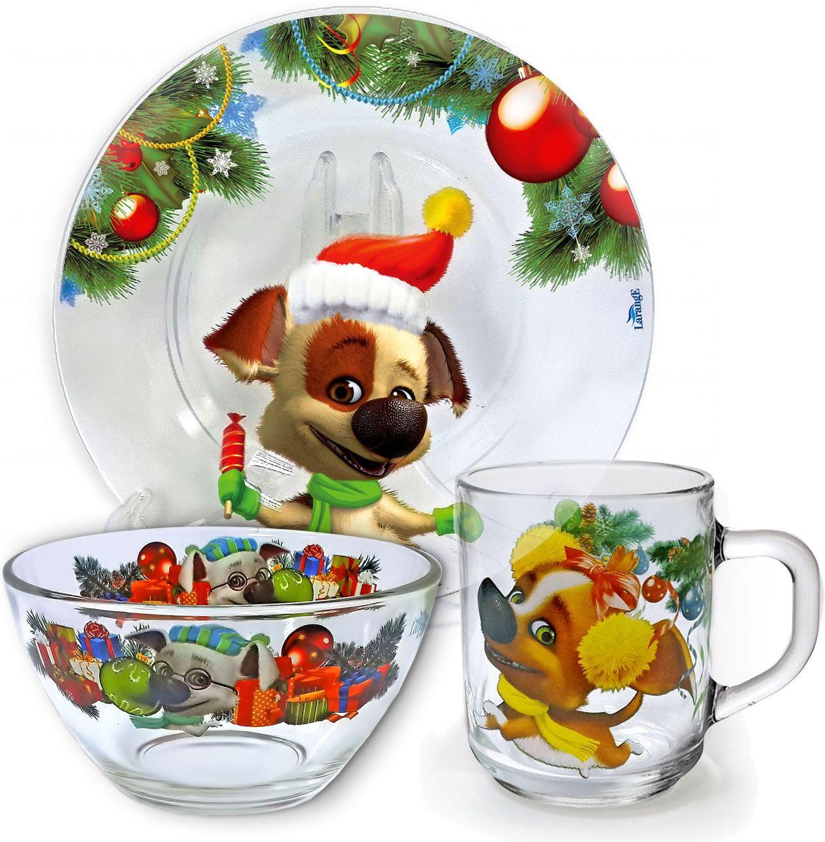Набор посуды Белка и Стрелка Новый год озорной семейки, 3 предмета628-056От качества посуды зависит не только вкус еды, но и здоровьечеловека. Набор посуды Белка и Стрелка Новый год озорнойсемейки выполнен из высококачественного стекла и состоит изтарелки, кружки и салатника. Любой хозяйке будет приятнодержать его в руках.Состав набора: тарелка 19 см, кружка 210 мл, салатник 13 см, 250 мл.
