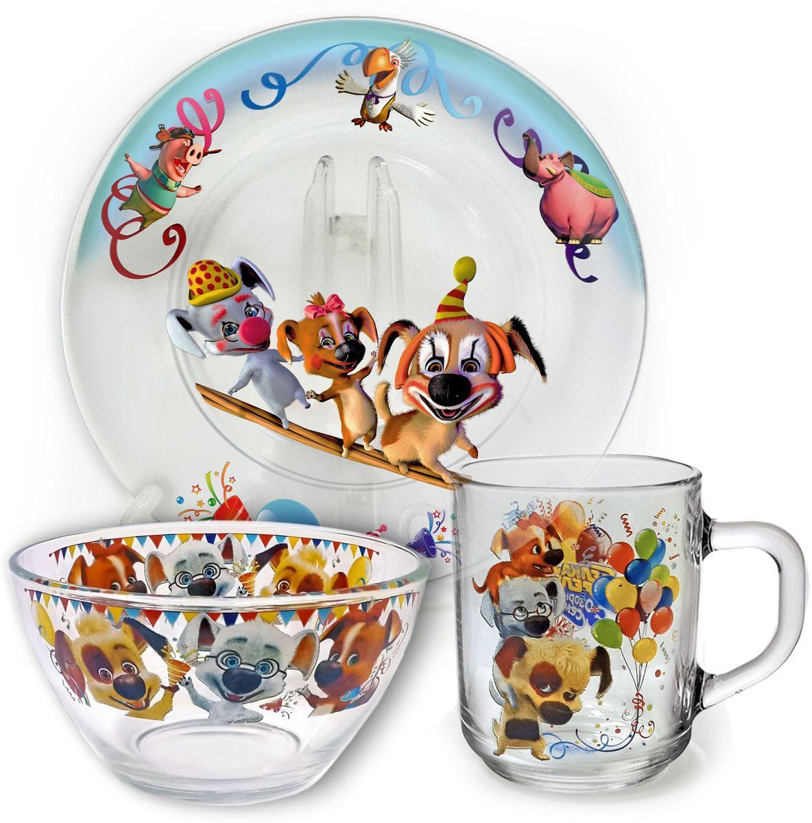Набор посуды Белка и Стрелка В цирке, 3 предмета628-059От качества посуды зависит не только вкус еды, но и здоровье человека. Набор посуды Белка и Стрелка В цирке выполнен из высококачественного стекла и состоит из тарелки, кружки и салатника. Любой хозяйке будет приятно держать его в руках. Состав набора: тарелка 19 см, кружка 210 мл, салатник 13 см, 250 мл.