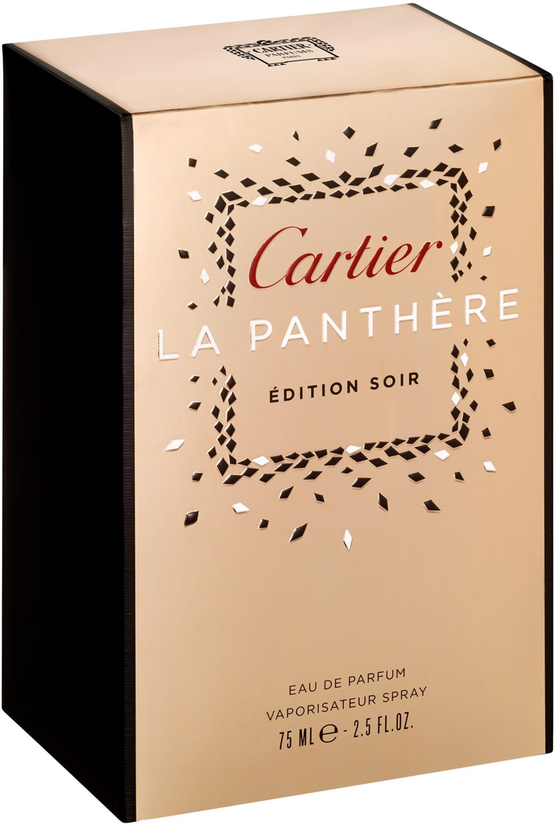 Cartier Парфюмерная вода женская La Panthere Edition Soir, 75 млFS075017Новый аромат La Panthere Edition Soir – это сочетание ярких анималистичных нот и сладостного цветочного аромата. Роскошная гардения наполняет парфюмированную воду особой чувственностью, а пудро-мускусные оттенки соблазняют и интригуют. Свежий и жизнерадостный аромат не лишен глубины,в нем нашли свое отражение чувственность и страсть, присущие каждой прекрасной хищнице. верхние ноты: цветочные ноты; средние ноты: Гардения; шлейф: Искрящиеся Гардения полная свежести и легкий Мускус создают пудровый Цветочный аккорд.Краткий гид по парфюмерии: виды, ноты, ароматы, советы по выбору. Статья OZON Гид