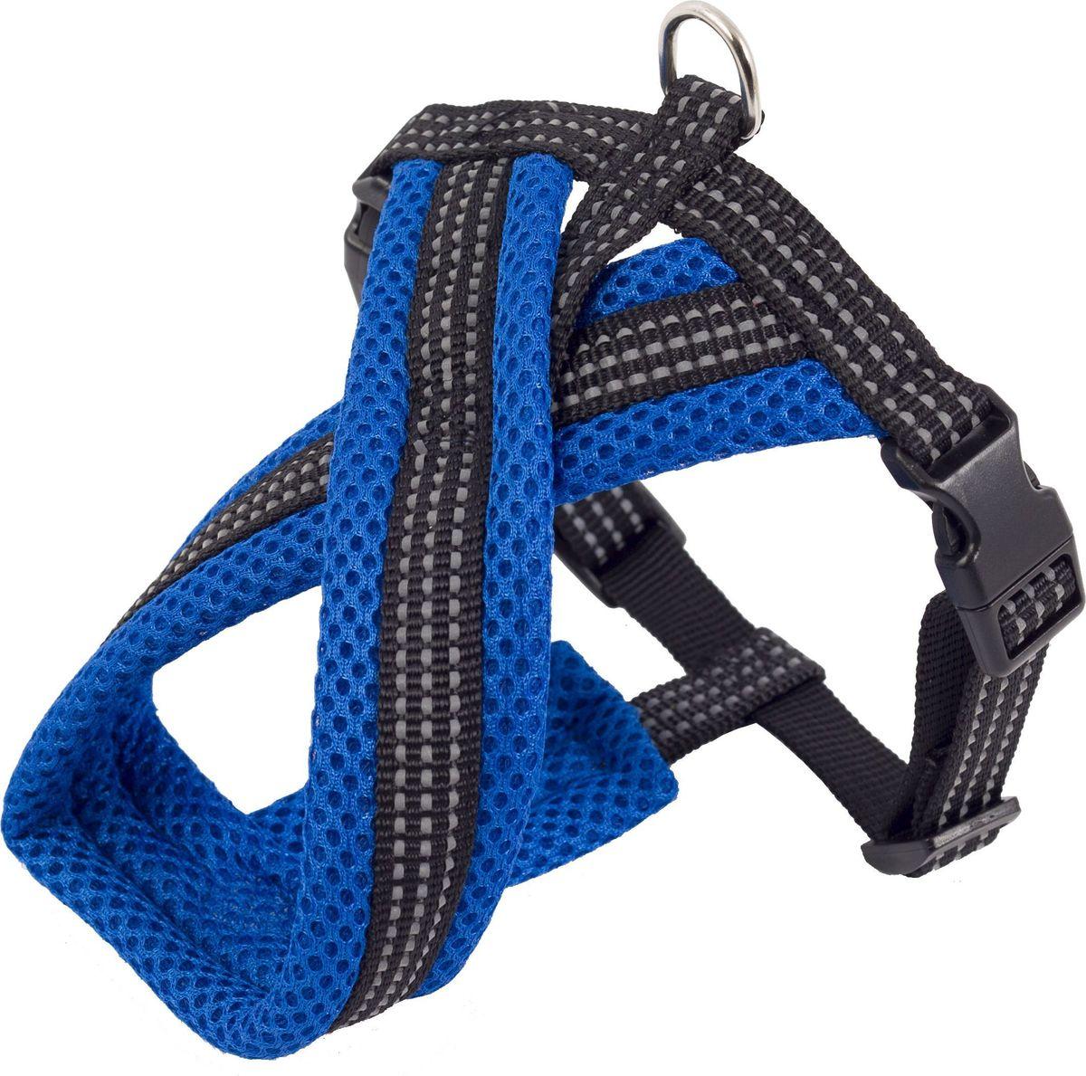 Шлейка для собак Каскад, цвет: синий, 2 х 40 х 44-55 см01220016-06Шлейка, изготовленная из прочного нейлона и дополнена мягкой подкладкой. Крепкие металлические и пластиковые элементы делают ее надежной и долговечной. Шлейка - это альтернатива ошейнику. Правильно подобранная шлейка не стесняет движения питомца, не натирает кожу, поэтому животное чувствует себя в ней уверенно и комфортно. Размер регулируется при помощи пряжки. Изделие дополнено светоотражающим элементом.