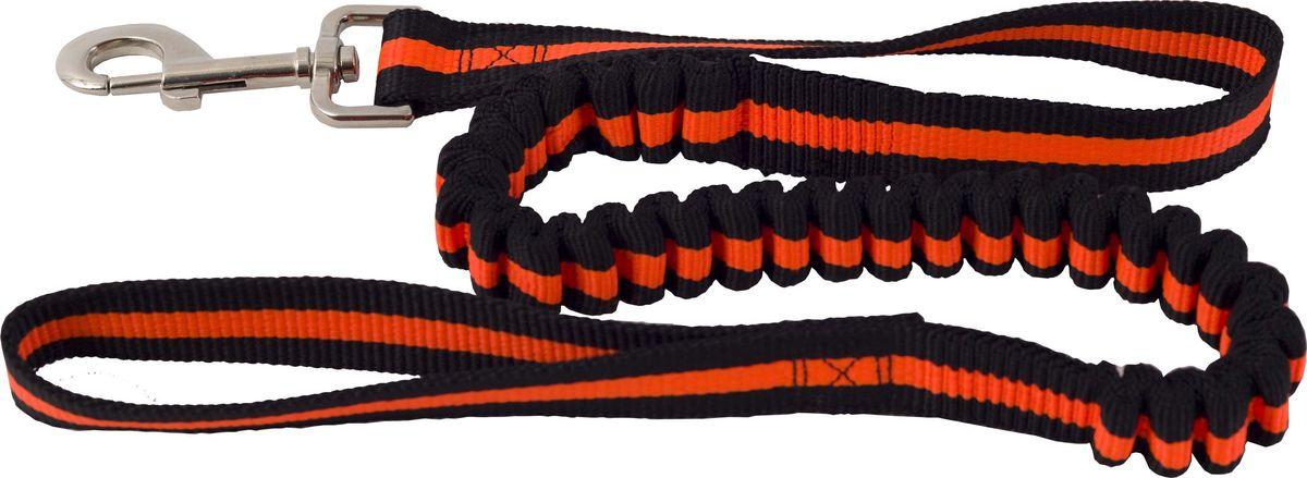 Поводок для собак Каскад, цвет: черный, оранжевый, ширина 2,5 см, длина 90-120 см02225040-03Двухсторонний поводок для собак Каскад, изготовленный из нейлона, снабжен металлическим карабином. Для удобства фиксации в руке на поводке предусмотрена петля. Часть поводка снабжена резинкой. Изделие отличается не только исключительной надежностью и удобством, но и привлекательным дизайном. Поводок - необходимый аксессуар для собаки. Ведь в опасных ситуациях именно он способен спасти жизнь вашему любимому питомцу. Иногда нужно ограничивать свободу своего четвероногого друга, чтобы защитить его или себя от неприятностей на прогулке. Длина поводка: 90-120 см. Ширина поводка: 2,5 см.