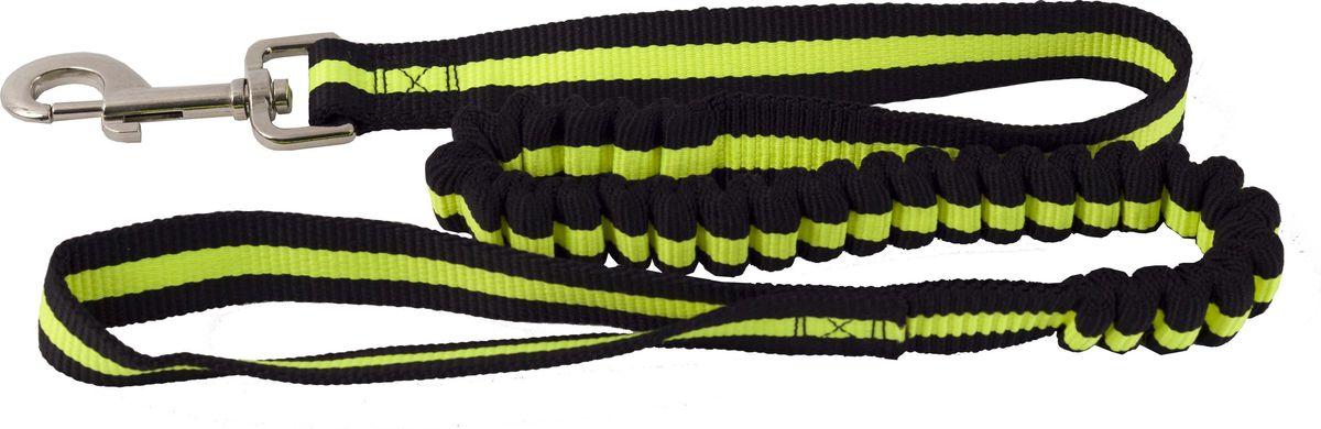 Поводок для собак Каскад, цвет: черный, зеленый, ширина 2,5 см, длина 90-120 см02225040-05Двухсторонний поводок для собак Каскад, изготовленный из нейлона, снабжен металлическим карабином. Для удобства фиксации в руке на поводке предусмотрена петля. Часть поводка снабжена резинкой. Изделие отличается не только исключительной надежностью и удобством, но и привлекательным дизайном. Поводок - необходимый аксессуар для собаки. Ведь в опасных ситуациях именно он способен спасти жизнь вашему любимому питомцу. Иногда нужно ограничивать свободу своего четвероногого друга, чтобы защитить его или себя от неприятностей на прогулке. Длина поводка: 90-120 см. Ширина поводка: 2,5 см.