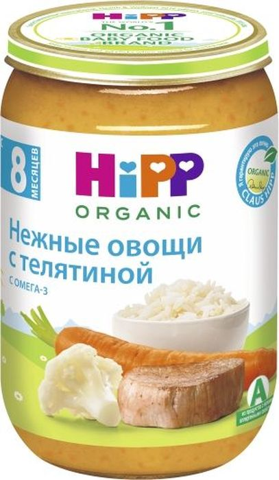Hipp пюре нежные овощи с телятиной, с 8 месяцев, 220 г9062300103028Пюре Hipp Нежные овощи с телятиной - это пюре из нежной телятины, моркови и цветной капусты. Телятина считается полезным мясом за обилие легко усваивающихся аминокислот и минеральных веществ. В ее состав входят белки, витамины А, В1, В2, РР, соли калия, натрия, кальция, фосфора, железа. Главным достоинством телятины является минеральный состав мяса.Морковь - признанный лидер среди овощей по содержанию каротина. Каротин необходим для поддержания нормального зрения, состояния кожи, слизистых оболочек, для устойчивости организма к инфекциям дыхательных путей, укрепления иммунитета. В корнеплодах моркови содержатся соли кальция, фосфора, йода, железа, а также эфирные масла и фитонциды. Калий, содержащийся в моркови, регулирует водный обмен и оказывает противоотечное действие.Цветная капуста благотворно воздействует на работу детского желудка и кишечника. Кроме того, в цветной капусте имеется повышенное содержание витаминов А, В1, В2, В6, РР. В головках капусты присутствуют калий, кальций, натрий, фосфор, железо, магний. Цветная капуста богата пектиновыми веществами, яблочной и лимонной кислотой, фолиевой и пантотеновой кислотой, солями фосфора, кальция и магния. Это пюре благотворно воздействует на работу детского желудка и кишечника.