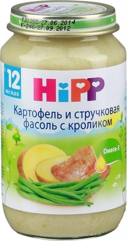 Hipp пюре картофель и стручковая фасоль с кроликом, с 12 месяцев, 220 г9062300106883Картофель содержит витамины В1, В2, В6 и С, калий, магний и железо. Он богат углеводами, а растущий ребенок нуждается в их большом количестве, как основном поставщике энергии. Белок картофеля очень хорошо усваивается организмом. Магний необходим для формирования костной ткани, нормализует возбудимость нервной системы, оказывает влияние на активность ряда ферментов, благотворно воздействует на работу детского желудка и кишечника. Фасоль богата растительным белком, по аминокислотному составу она уступает лишь мясу. Стручки богаты витаминами В1 и В2, а также витамином РР. Все эти витамины улучшают состояние кожи и влияют на аппетит. В зеленой фасоли практически все минеральные вещества, полезные для человека. Крольчатина - это уникальный гипоаллергенный диетический продукт, который усваивается на 96%. Он незаменим для детей с анемией или пищевой аллергией. Мясо кролика не может содержать холестерина, пестицидов, гербицидов, следов лекарственных и любых других химических препаратов, поэтому идеально подходит ребенку в качестве первого мясного прикорма. Малыш получит целый комплекс витаминов (С, Е, РР) и минералов (калий, фосфор, железо, магний, йод), необходимых для растущего организма.
