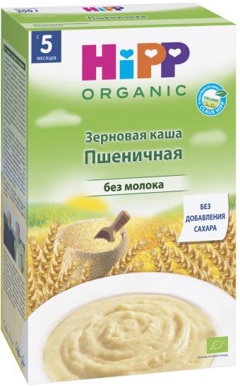 Hipp каша органическая зерновая пшеничная, с 5 месяцев, 200 г9062300122111Зерновая пшеничная каша производится из отборного сырья высшего качества. Пшеница укрепляет защитные силы организма благодаря витаминам и ненасыщенным жирным кислотам, а также богата растительным белком и крахмалом. Продукт не содержит молока, сахара, ароматизаторов, красителей и консервантов, поэтому каша полезна для малышей. Она легко усваивается за счет цельных органических злаков, нормализуя функции желудочно-кишечного тракта и обеспечивая крохе заряд энергии до следующего приема пищи.Низкие аллергенные свойства.Обогащена витамином В1 (для эффективной работы нервной системы).Пищевая ценность на 100/г сухой каши: белки - 12,5 г, углеводы - 74,8 г, из них сахар - 0,9 г, жиры - 0,9 г из них насыщенные жирные кислоты - 0,1 г, пищевые волокна - 3,8 г, натрий Пищевая ценность на 1 порцию каши: белки - 5,8 г, углеводы - 19,7 г, из них сахар - 4,9 г, жиры - 3,4 г из них насыщенные жирные кислоты - 2,1 г, пищевые волокна - 0,8 г, натрий < 0,02 г, витамин В1 - 0,16 мг.
