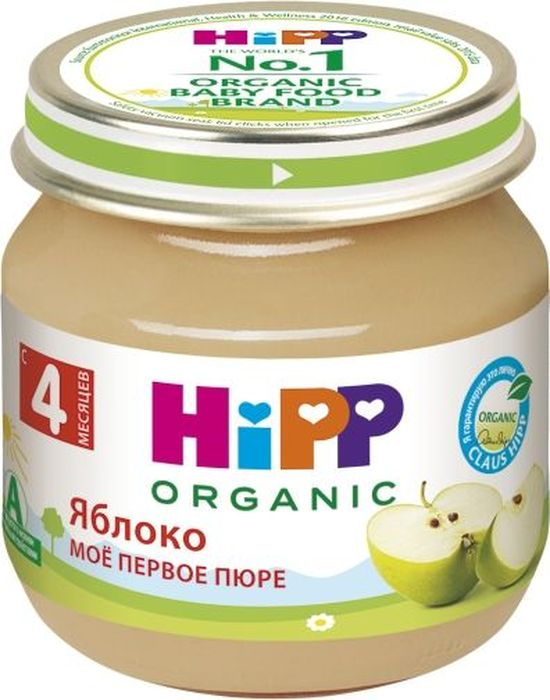 Hipp пюре яблоко, мое первое пюре, с 4 месяцев, 80 г пюре hipp моё первое пюре кролик с 6 мес 80 г