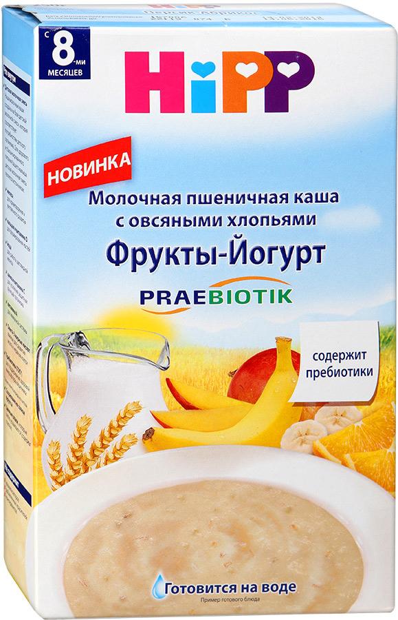 Hipp каша молочная пшеничная с овсяными хлопьями с фруктами и йогуртом с пребиотиками, с 8 месяцев, 250 г каши hipp молочная пшеничная каша с овсяными хлопьями фрукты йогурт c 8 мес 250 гр