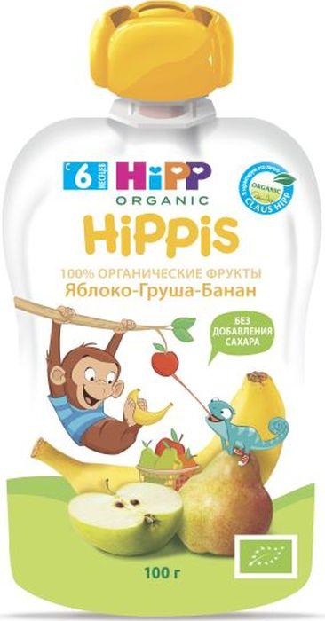 Hipp пюре яблоко, груша, банан, 6 месяцев, 100 г9062300133261Изготовлено на основе бананов, груш и яблок. Обогащено витамином С и не содержит сахара. В груше, помимо витаминов А, В и С, содержится множество важных для организма минеральных веществ, таких как цинк, сера, йод, медь, магний, калий и фосфор. Благодаря высокому содержанию железа, груши, как и яблоки, рекомендованы при анемии. Малыши, которые регулярно употребляют грушу, реже имеют нарушения стула.Яблоко можно считать одним из лучших плодов для ребенка. В нем идеально сочетаются витамины, органические кислоты, микро- и макроэлементы, натуральный сахар. В яблоках содержатся витамины С, В1, В2, В6, Р, Е, каротин, калий, железо, марганец, кальций, фосфор, йод, пектины, сахара, органические кислоты.Бананы не только богаты витаминами и минеральными веществами (особенно калием), но и содержат много клетчатки и пектиновых веществ, поэтому помогают малышам при диарее.