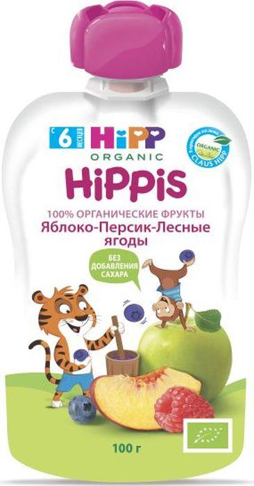 Hipp пюре яблоко, персик, лесные ягоды, с 6 месяцев, 100 г hipp пюре яблоко клубника банан с 6 месяцев 100 г