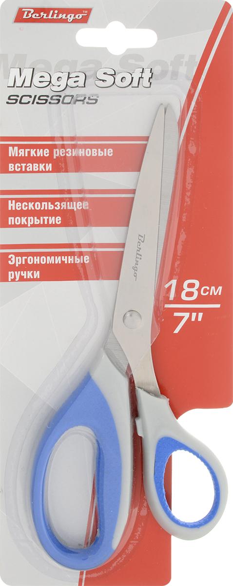 Berlingo Ножницы Mega Soft цвет синийDNn_18015_синийНожницы Berlingo Mega Sof изготовлены по технологии двойного литья, что делает их очень надежными и долговечными. Их мягкие вставки обладают особой текстурированной поверхностью, а длина и угол наклона по отношению к лезвиям имеют оптимальные параметры. Ножницы имеют трехстороннюю заточку лезвий.