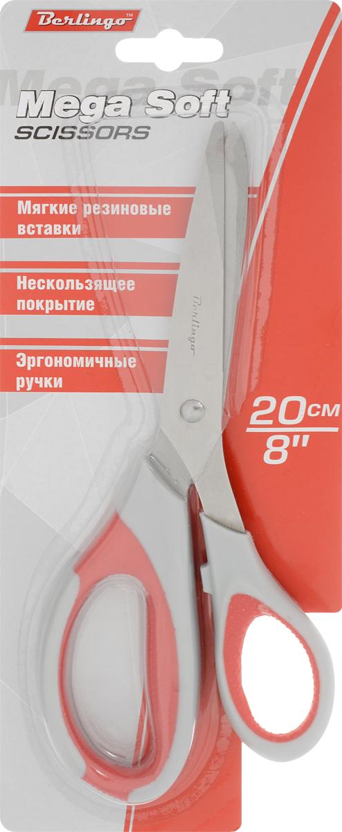 Berlingo Ножницы Mega Soft с мягкими вставками цвет красный 20,5 смDNn_20015_серый, красныйРучки ножниц Berlingo Mega Soft изготовлены по технологии двойного литья, что делает их очень надежными и долговечными. Их мягкие вставки обладают особой текстурированной поверхностью, а длина и угол наклона по отношению к лезвиям имеют оптимальные параметры. Лезвия выполнены с трехсторонней заточкой из прочной нержавеющей стали. Для каждой модели доступны три сочетания цветов ручек.