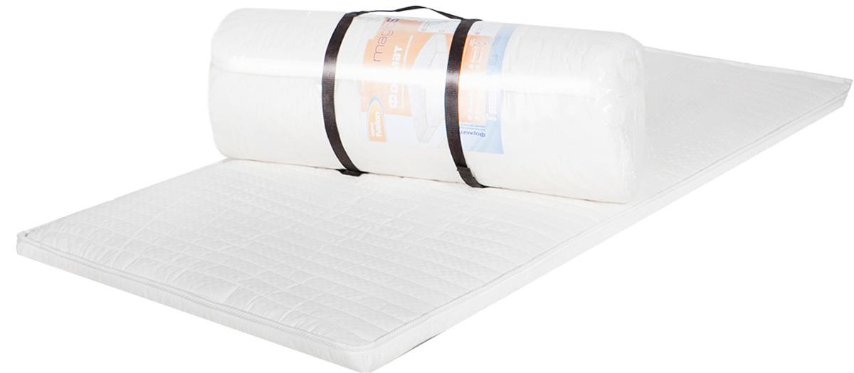Матрас MagicSleep Формат 5, 80 х 190 смм.297 80х190Беспружинный матрас средней жесткости.Матрас состоит из высокоэластичного пенополиуретана Эргофоам. Это мягкий, комфортный материал, повышающий ортопедические качества матраса.Высота 5 см. Поставляется в скрученном виде.