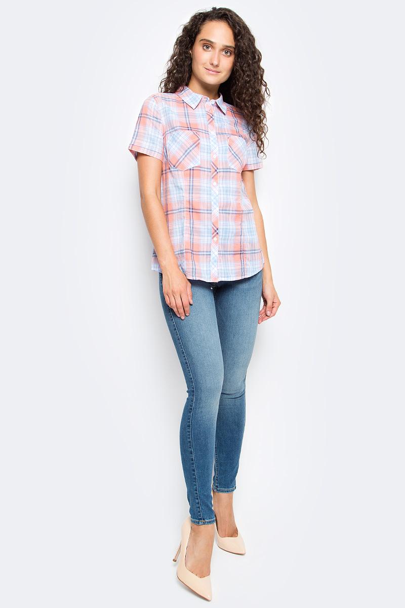 Рубашка женская Sela, цвет: коралловый. Bs-112/133-7263. Размер 50Bs-112/133-7263Женская рубашка Sela выполнена из натурального хлопка и оформлена принтом в крупную клетку. Модель прямого кроя с отложным воротничком и короткими рукавами застегивается на пуговицы и дополнена двумя накладными карманами. Рубашка подойдет для офиса, прогулок и дружеских встреч и будет отлично сочетаться с джинсами и брюками, и гармонично смотреться с юбками. Мягкая ткань комфортна и приятна на ощупь.