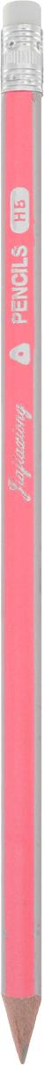 Карандаш чернографитный с ластиком цвет корпуса розовый карандаш фонарик с ластиком