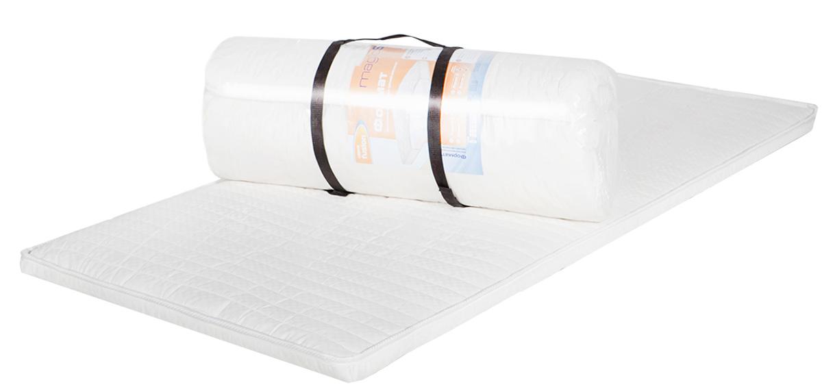Беспружинный матрас средней жесткости. Матрас состоит из высокоэластичного пенополиуретана Эргофоам. Это мягкий, комфортный материал, повышающий ортопедические качества матраса. Высота 3 см. Поставляется в скрученном виде.  Как выбрать матрас. Статья OZON Гид