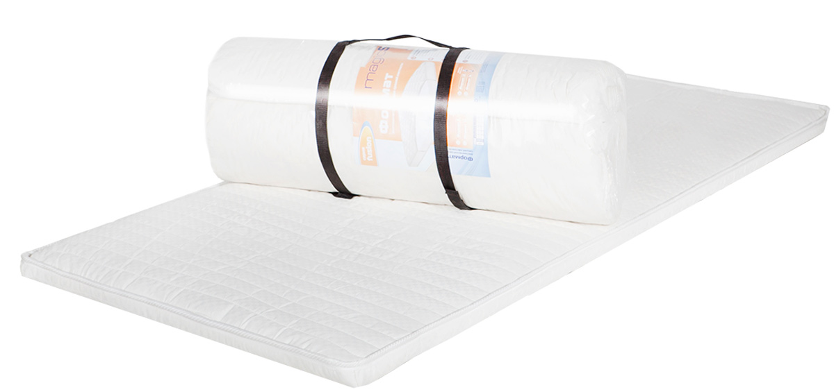 Матрас MagicSleep Формат 3, 120 х 200 смм.296 120х200Беспружинный матрас средней жесткости.Матрас состоит из высокоэластичного пенополиуретана Эргофоам. Это мягкий, комфортный материал, повышающий ортопедические качества матраса.Высота 3 см. Поставляется в скрученном виде.