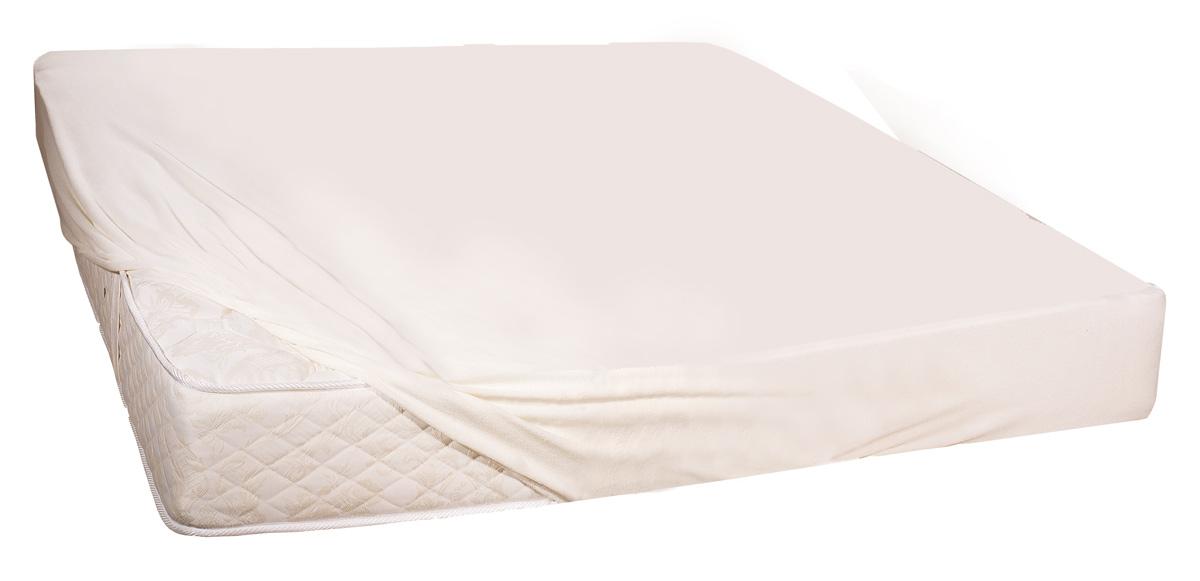 Простыня Торис Экофикс протект, водонепроницаемая, 180 х 200 смМ.208Защитная непромокаемая простыня-чехол надежно фиксируется на матрасе, не образует складок и абсолютно водонепроницаемая. Изготавливается из трикотажной махровой ткани (75% хлопок, 25% полиэстер). Внутреннее покрытие чехла на полиуретановой основе не пропускает влагу, но при этом защитный влагонепроницаемый чехол дышит. Простыня-чехол защищает поверхность и боковины матраса от влаги и загрязнений. Крепится на него с помощью резинки по периметру.Высокая износостойкость к стиркам.