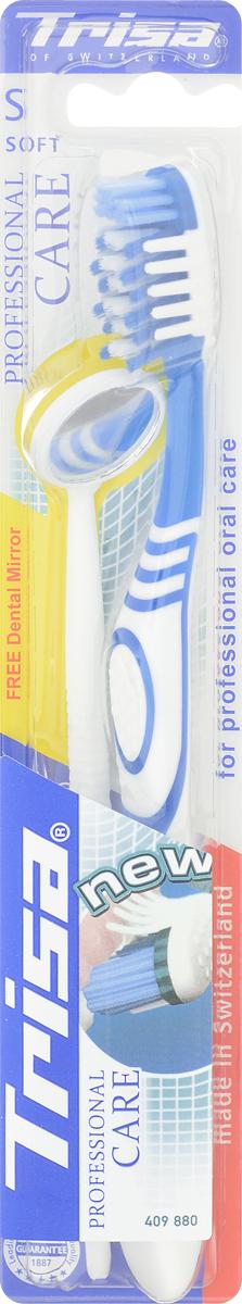 Trisa Зубная щетка Professional Care, мягкая, цвет: синий + ПОДАРОК Стоматологическое зеркало645885_синийЗубная щетка Trisa Professional Care с мягкой щетиной отлично удаляет зубной налет благодаря особой структуре щетинок, расположенных Х-образно. Щетка очищает труднодоступные места и межзубные промежутки благодаря многоуровневым щетинкам и их специальному расположению. Мягкие массажные элементы стимулируют десны, улучшая кровообращение. Небольшое, удобное стоматологическое зеркальце, входящее в комплект, поможет вам в уходе за полостью рта.