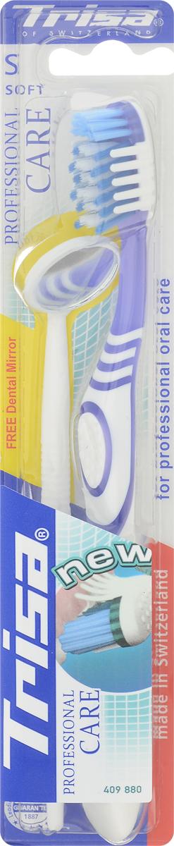 Trisa Зубная щетка Professional Care, мягкая, цвет: сиреневый + ПОДАРОК Стоматологическое зеркало645885_сиреневыйЗубная щетка Trisa Professional Care с мягкой щетиной отлично удаляет зубной налет благодаря особой структуре щетинок, расположенных Х-образно. Щетка очищает труднодоступные места и межзубные промежутки благодаря многоуровневым щетинкам и их специальному расположению. Мягкие массажные элементы стимулируют десны, улучшая кровообращение. Небольшое, удобное стоматологическое зеркальце, входящее в комплект, поможет вам в уходе за полостью рта.