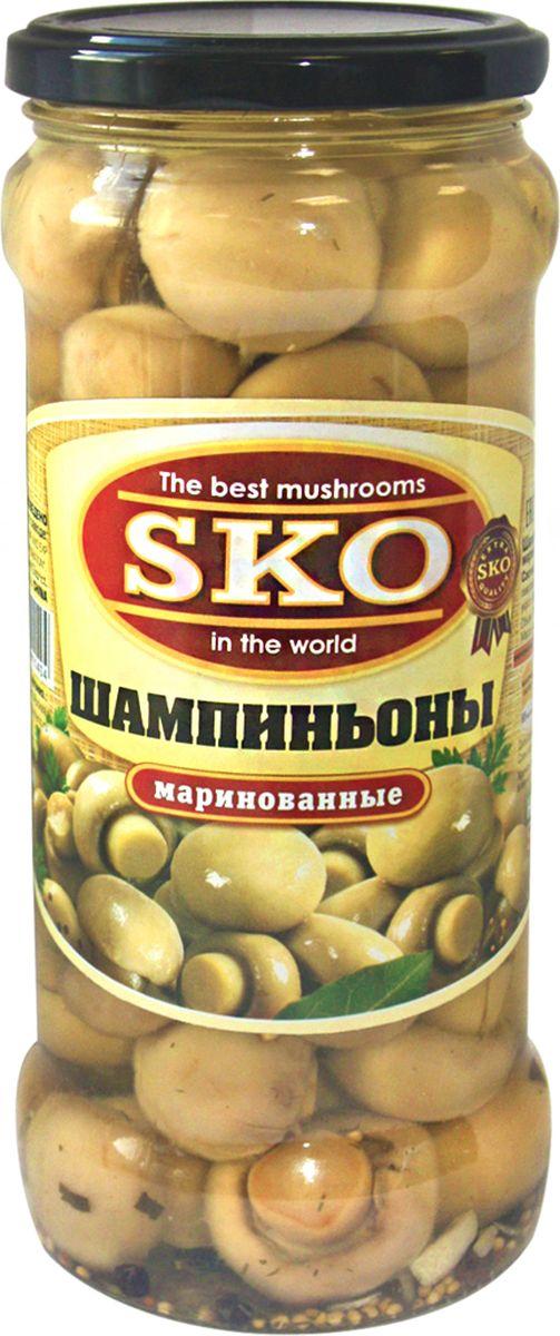 SKO шампиньоны маринованные целые, 580 мл грибы vitaland виталанд шампиньоны резаные 425г ж б