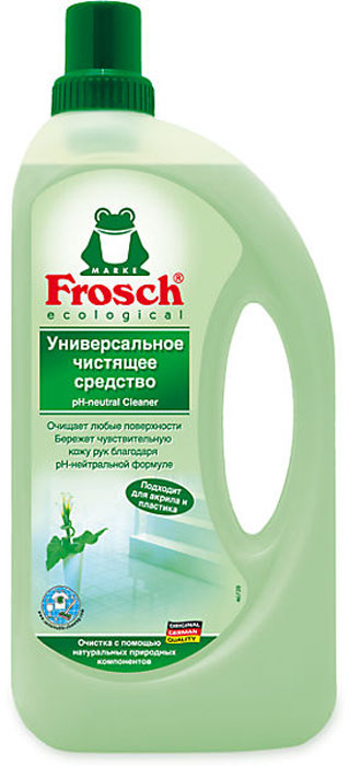 """Универсальное чистящее средство """"Frosch"""" предназначено для мытья любых поверхностей в доме. Подходит для загородного дома. Им можно вручную постирать белье, помыть руки или  помыть машину без вреда для краски. Средство содержит вещества растительного происхождения. Не раздражает кожу, можно не пользоваться перчатками. Средство безвредно для людей, страдающих аллергией на бытовую химию.   Торговая марка Frosch специализируется на выпуске экологически чистой бытовой химии. Для изготовления своей продукции Frosch  использует натуральные природные компоненты. Ассортимент содержит все необходимое для бережного ухода за домом и вещами. Продукция торговой марки Frosch эффективно удаляет загрязнения, оберегает кожу рук и безопасна для окружающей среды.   Характеристики:   Объем: 1 л. Производитель:  Германия.   Товар сертифицирован.    Как выбрать качественную бытовую химию, безопасную для природы и людей. Статья OZON Гид"""