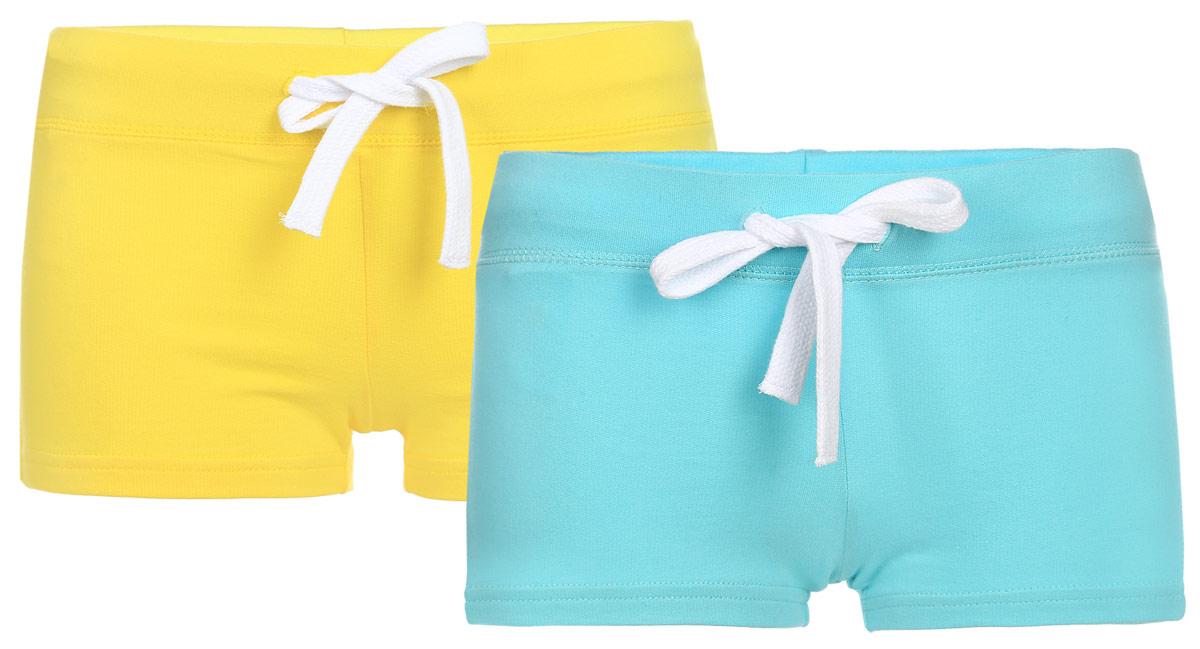 Шорты женские oodji Ultra, цвет: желтый, голубой, 2 шт. 17001029T2/46155/19LBN. Размер M (46)17001029T2/46155/19LBNУдобные женские шорты oodji Ultra изготовлены из натурального хлопка.Шорты стандартной посадки имеют эластичный пояс на талии, дополненный шнурком.