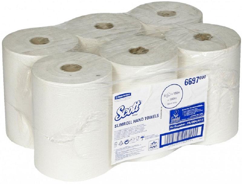 Полотенца бумажные Scott Slimroll, однослойные, рулон. 66976697Уникальные рулонные полотенца SLIMROLL® - это высокая вместимость малого по габаритам рулона и сокращение времени на обслуживание и снижение расхода. Произведены специально по запантентовой технологии AIRFLEX®. 6 Рулонов x 190 м = 1140 м. Совместимы с диспенерами: 6953, 7185, 9960.