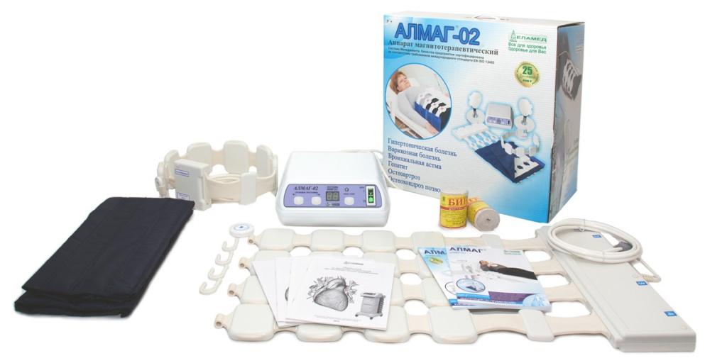 Еламед Аппарат магнитотерапии АЛМАГ-02 вариант поставки №22176Еламед АЛМАГ-02 – это мощный физиотерапевтический аппарат, предназначенный для лечения широкого спектра заболеваний. Он воздействует на организм человека импульсным бегущим магнитным полем низкой частоты и подходит для использования как врачами в клиниках, так и самим пациентом в домашних условиях.Преимущества Еламед АЛМАГ-02:Один инструмент от множества болезней - значительная экономия времени и бюджета!Купив этот прибор, вы надолго избавите себя от мучительных болей, от посещений врача, сократите трату денег на лекарственные препараты и на безуспешное лечение.Высокая глубина проникновения магнитного поля.Это позволяет эффективно воздействовать даже на внутренние органы и вылечивать заболевания различного вида, в том числе и хронические. Кроме того, результаты использования аппарата видны уже с первых дней!Локальное и зональное воздействие благодаря наличию нескольких вариантов излучателей.Простое использование.Применение прибора не вызывает особых сложностей и не требует особых навыков и специального образования. Все необходимые действия для лечения того или иного заболевания прописаны в инструкции по эксплуатации.Запрограммированные параметры воздействия.В аппарат встроено 79 различных режимов работы. На блоке питания вы можете самостоятельно выбрать нужный режим в зависимости от заболевания, места воздействия и прочих особенностей лечения.Высокое качество прибора обеспечивает долгий срок его службы.Аппарат работает от обычной сетевой розетки. Технические характеристикиПитание Сеть 220 В, 50 ГцАмплитудное значение магнитной индукции импульсного магнитного поля от 2 до 45 мТлФиксированная направленность магнитного поля даЧастота следования импульсов от 1 до 100 ГцМасса прибора не более 11 кгВремя работыустанавливается в пределах от 1 до 30 минКоличество задаваемых программ до 79Типы магнитных полей бегущее сверху-вниз, снизу-вверхбегущее справа-налево, слева-направонеподвижноеПринцип действия и предназн