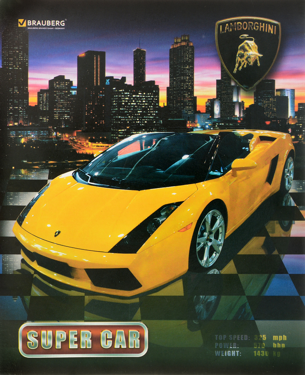 Brauberg Тетрадь Авто Lamborghini 48 листов в клетку401282_желтая машинаТетрадь Brauberg Авто Lamborghini подойдет как школьнику, так и студенту. Обложка тетради выполнена из плотного картона, что позволит сохранить ее в аккуратном состоянии на протяжении всего времени использования.Внутренний блок тетради, соединенный двумя металлическими скрепками, состоит из 48 листов белой бумаги. Стандартная линовка в клетку голубого цвета дополнена полями.