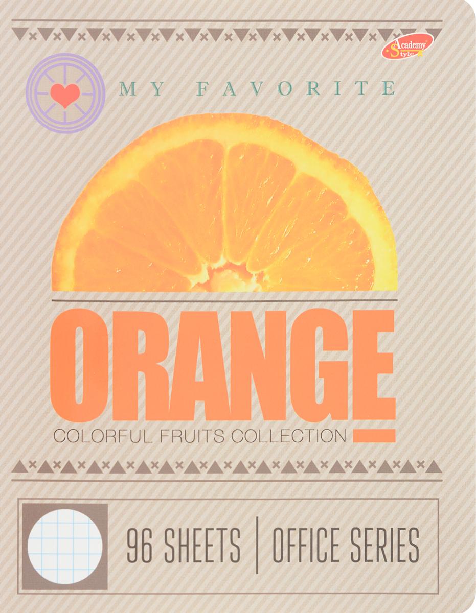Academy Style Тетрадь Фрукты Orange 96 листов в клетку2228671_АпельсинТетрадь Academy Style Фрукты. Orange отлично подойдет как школьнику, так и студенту. Обложка тетради выполнена из картона с закругленными углами.Внутренний блок состоит из 96 листов белой бумаги с линовкой в клетку с полями.