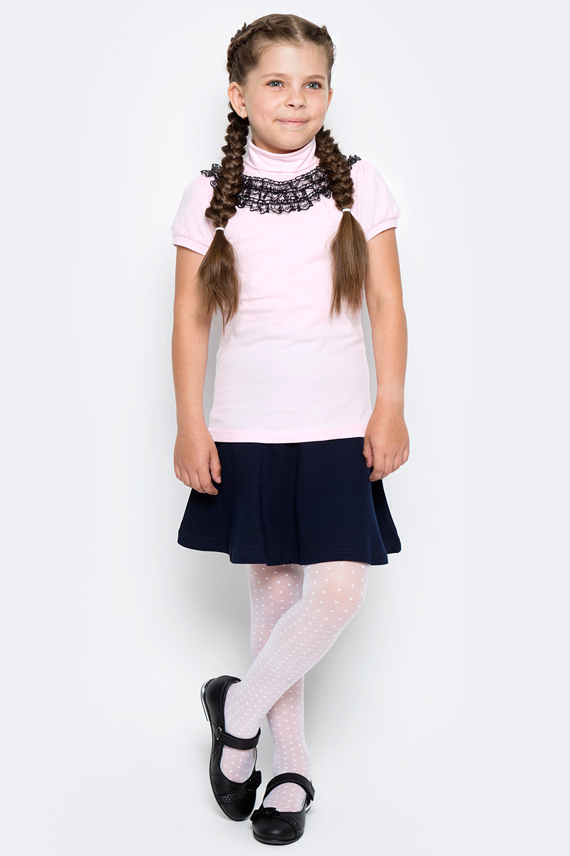 Водолазка для девочки LeadGen, цвет: розовый. G970009716-172. Размер 122G970009716-172Водолазка LeadGen изготовлена из качественного материала на основе хлопка. Модель выполнена с высоким воротничком и короткими рукавами. На груди модель оформлена кружевами контрастного цвета.