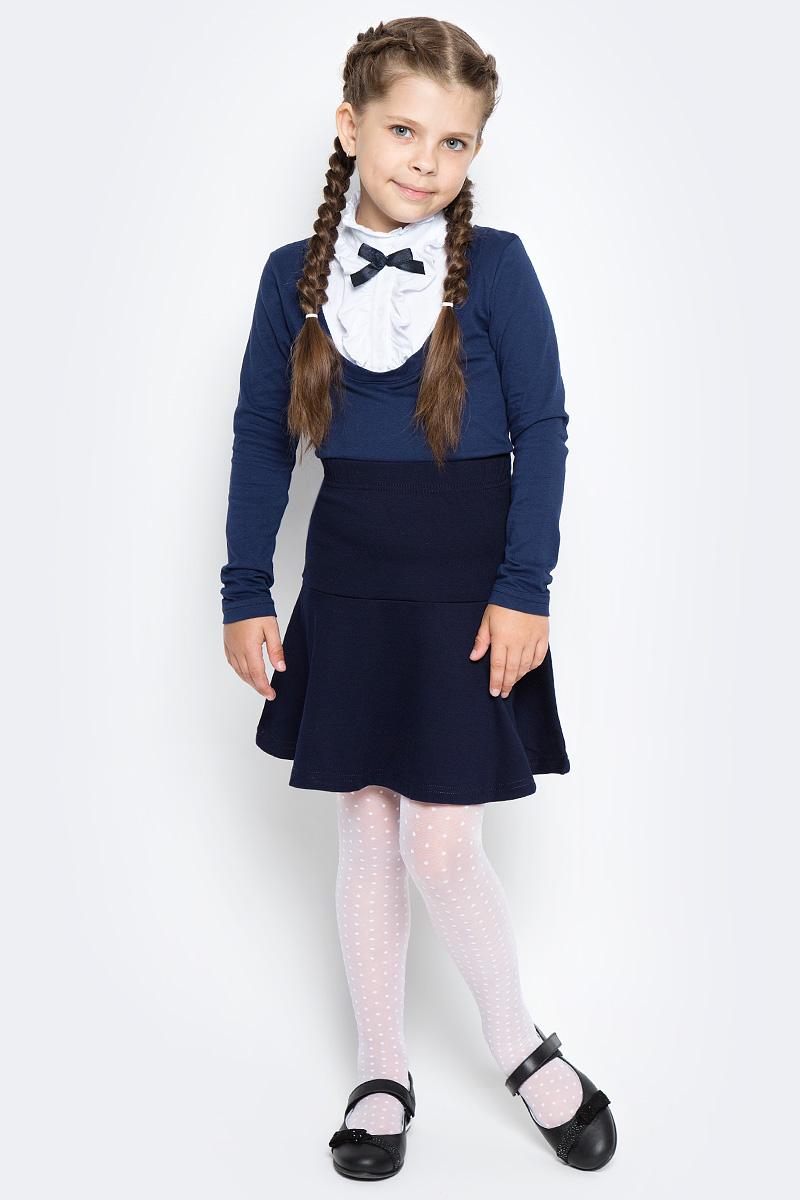 Джемпер для девочки LeadGen, цвет: синий. G955002103-172. Размер 158G955002103-172Джемпер для девочки LeadGen выполнен из эластичного хлопкового трикотажа. Модель с длинными рукавами и невысоким воротником-стойкой на груди застегивается на кнопки. Полочка оформлена жабо и контрастным бантиком.