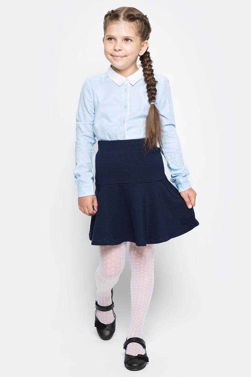 Блузка для девочки Sela, цвет: голубой. B-612/860-7320. Размер 164, 14 летB-612/860-7320Классическая блузка Sela для девочки выполнена из высококачественного материала. Модель с отложным воротником и длинными рукавами застегивается на пуговицы.