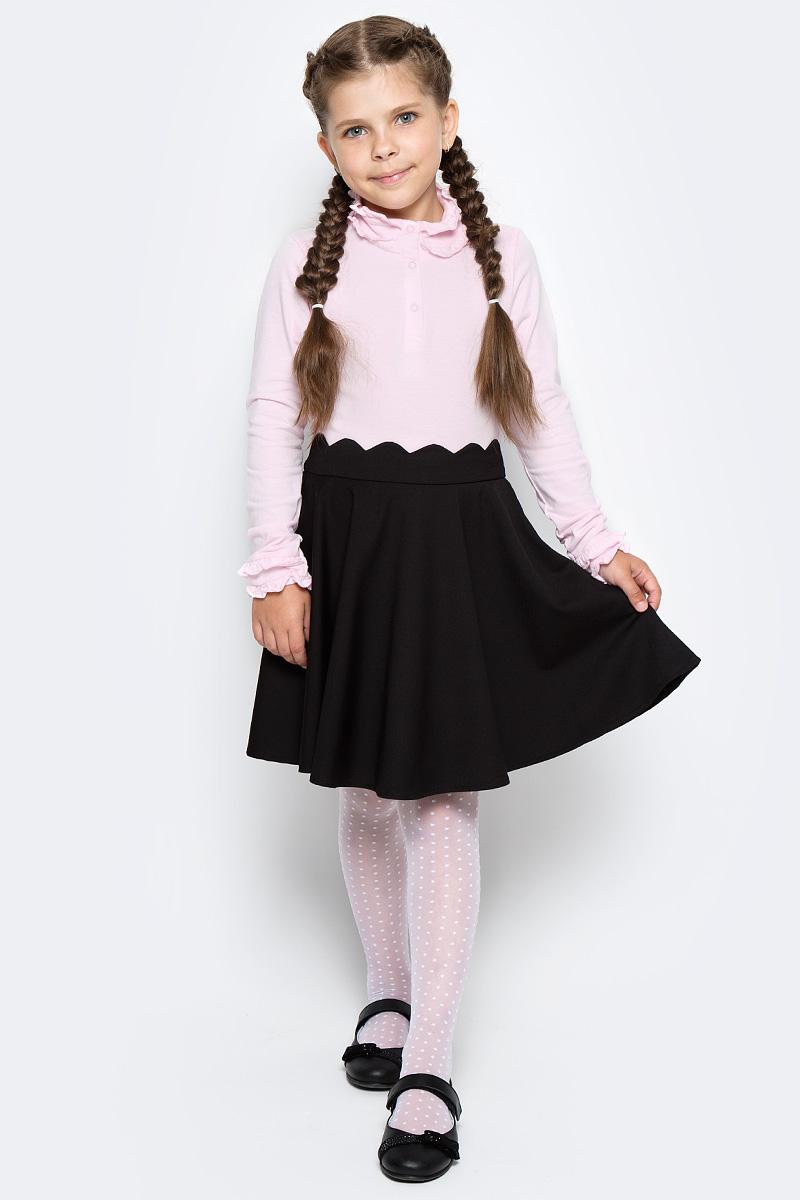 Водолазка для девочки LeadGen, цвет: розовый. G935006016-172. Размер 146G935006016-172Водолазка LeadGen изготовлена из качественного материала на основе хлопка. Модель с высоким воротничком и длинными рукавами застегивается на планку с кнопками. Воротник и низы рукавов оформлены рюшами.