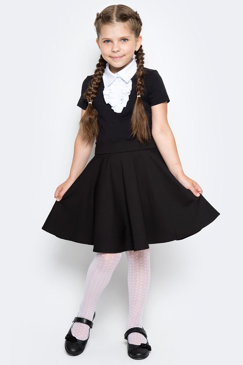 Блузка для девочки LeadGen, цвет: черный. G960003302-172. Размер 140G960003302-172Блузка LeadGen изготовлена из качественного материала на основе хлопка. Модель с отложным воротничком и короткими рукавами застегивается спереди на кнопки. Около застежек блузка декорирована трикотажным жабо.