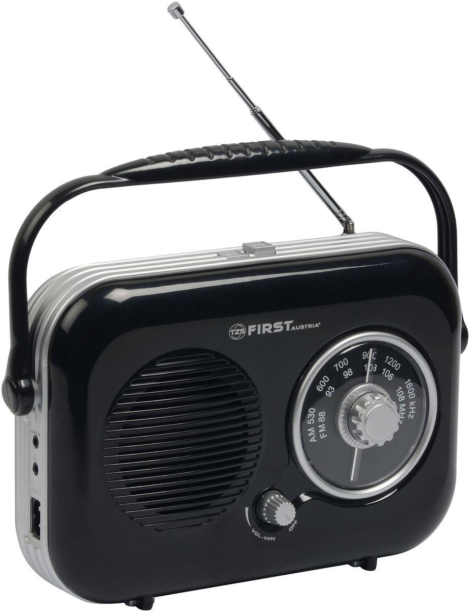 First FA-1906, Black радио-будильникFA-1906 BlackFirst FA-1906 - компактный недорогой радиоприемник с поддержкой диапазонов AM и FM. Приемник обладает удобной ручкой для переноски и телескопической антенной. Для подключения дополнительных аудио-устройств имеются линейный аудиовход и разъем для наушников. Питание осуществляется как от сети, так и от 4 батареек типа UM2 (не входят в комплект).